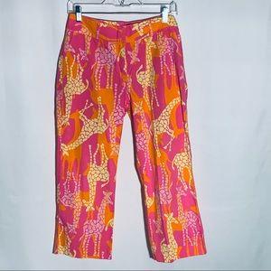 Lilly Pulitzer giraffe Capri, pink/yellow/orange 4